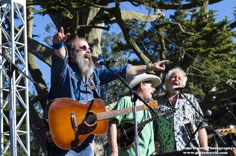 Steve Earle, Tim O'Brien and Peter Rowan performing at Hardly Strictly Bluegrass