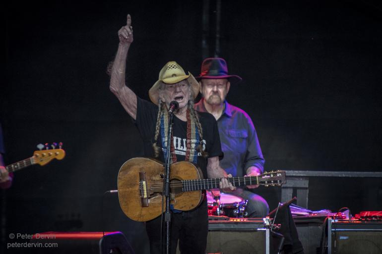 Willie Nelson performing at Marymoor Park