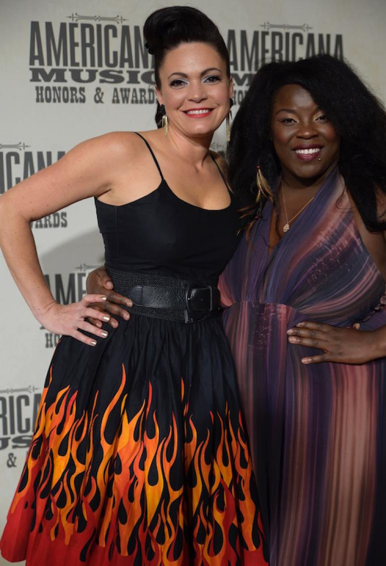 Angaleena Presley and Yola Carter, the AMA Red Carpet, AmericanaFest 2017