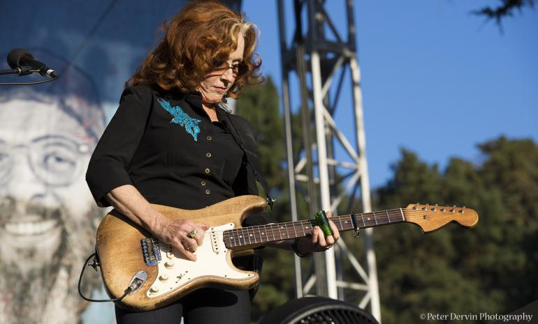 Bonnie Raitt performing at the Hardly Strictly Bluegrass Festival.