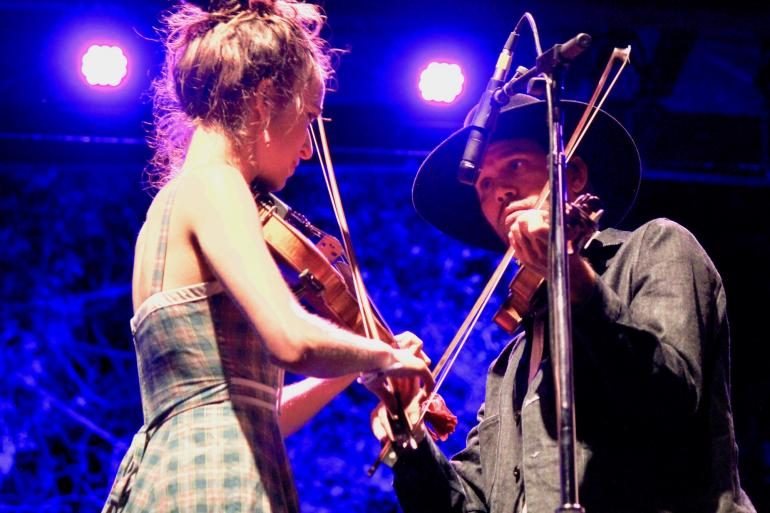 Brittany Haas, Willie Watson at 2017 Rocky Mountain Folks Festival