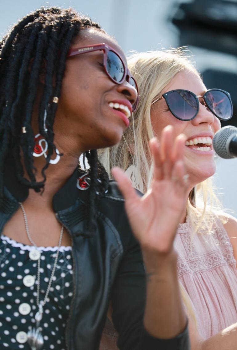Teneia Sanders-Eichelberger of Heart Society and Ellie Holcomb during Gospel Hour Cayamo
