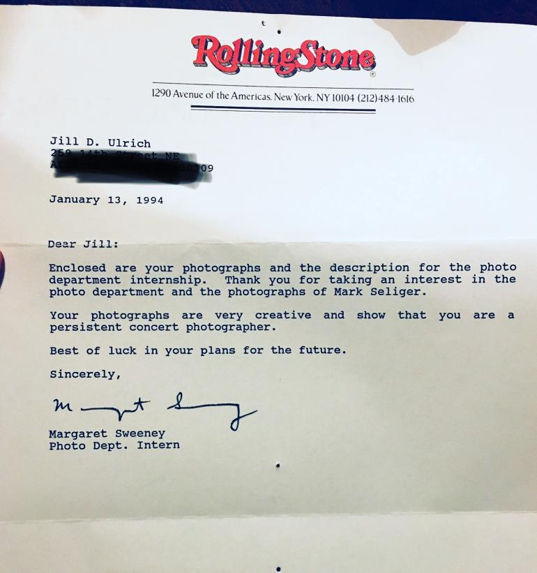 Jill Kettles' Rejection Letter from Rolling Stone