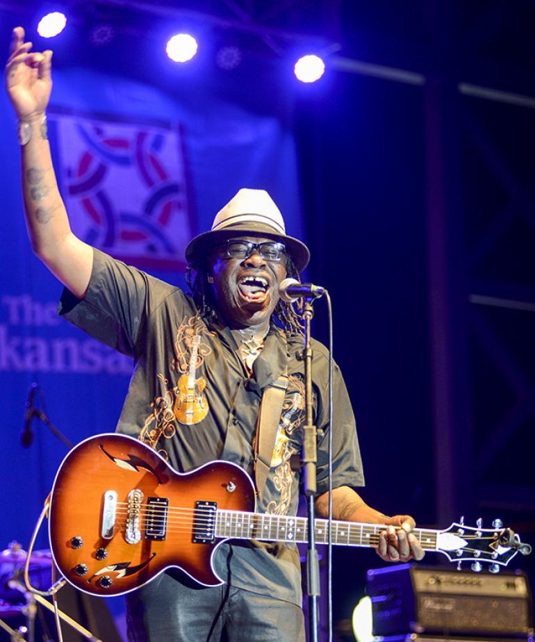Joe Louis Walker performs at the 2017 King Biscuit Blues Festival in Helena, AR.