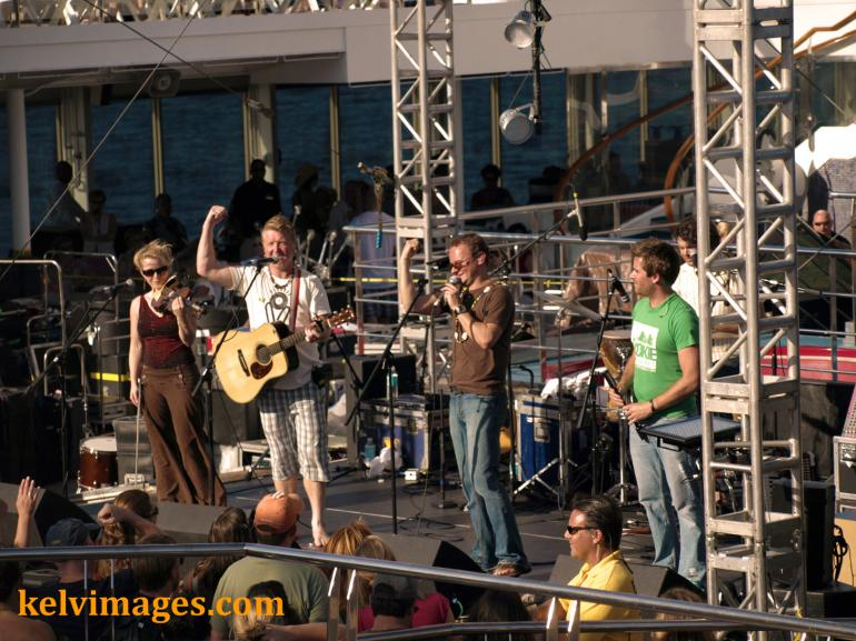 Gaelic Storm on the pool deck for the debut of the Cayamo cruise.